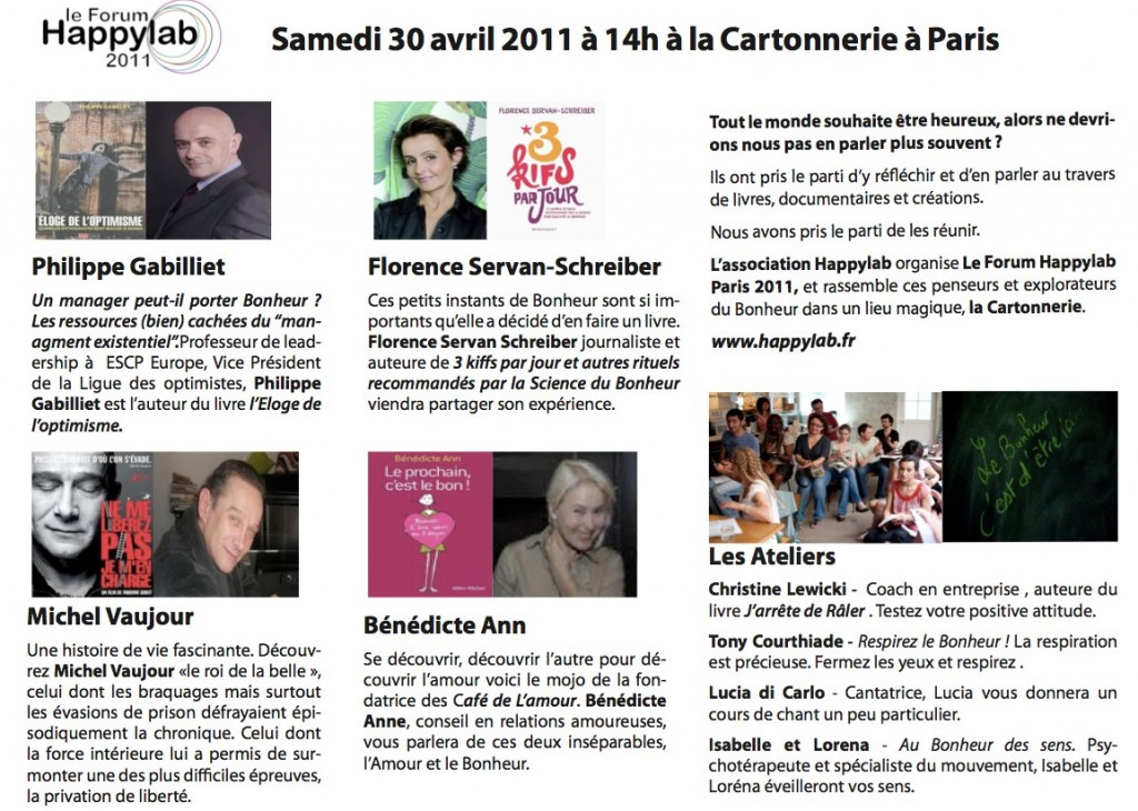 Programme Forum Happylab Paris 2011